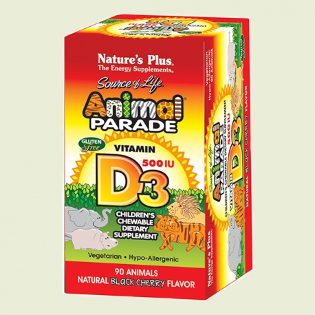 Animal parade vitamine D3 kauwtablet 90tabletten Natures Plus