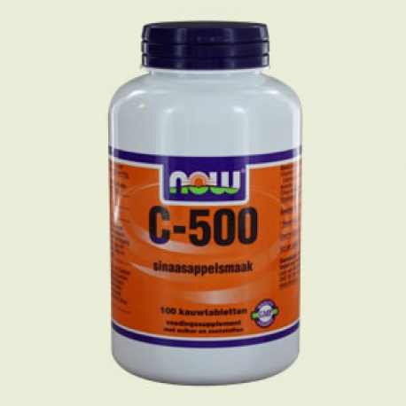 Vitamine C 500mg sinasappelsmaak 100 kauwtabletten NOW