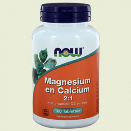 Magnesium Calcium 2:1 & vit D 100 tabletten NOW