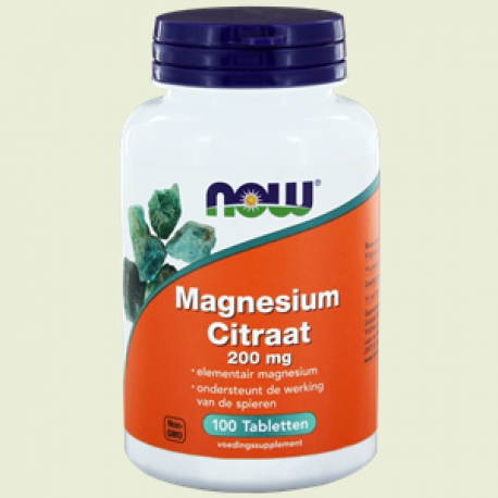 Magnesium citrate 200mg 100 tabletten NOW