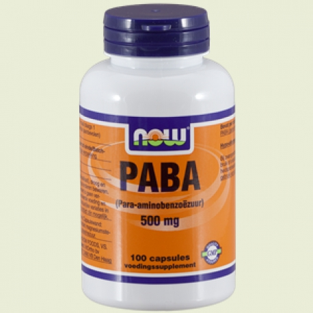 PABA 500mg 100 capsules NOW