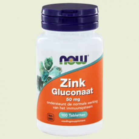 Zinc gluconaat 50mg 100 tabletten NOW