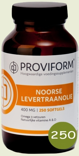 Noorse levertraanolie & vitamine D 250 softgels proviform