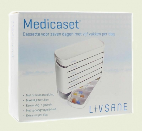 Medicine box with separate cassettes 5 compartments 7 days Medicaset