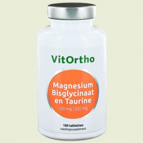 Bisglycinaat Magnesium 100 mg Taurin 100 Tabletten Vitortho